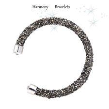 Grey & Silver Swarovski Elements Crystaldust Open Bangle by Harmony Bracelets