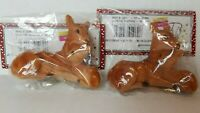2 Darice Flocked Deer Fawn Brown Spotted Laying Figure Farmhouse Christmas 3 x 2