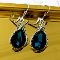 Fashion 925 Silver Drop Earrings for Women Blue Sapphire Jewelry A Pair/set