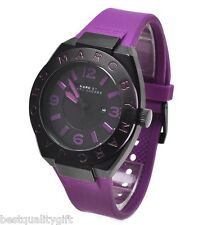 NEW MARC JACOBS PURPLE SILICONE BAND BLACK DIAL WATCH-MBM5517