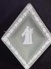 Wedgwood Diamond Shaped Pin Tray Green/White Muse Playing Lyre