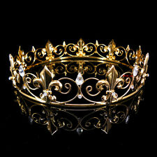 Boy's Imperial Medieval Fleur De Lis Gold King Crown 3.5cm High 15cm Diameter