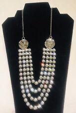 New Silver Diamanté Party Collar Statement Necklace Floral Gown Wear