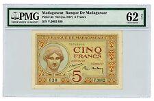 Madagascar ... P-35 ... 5 Francs ... ND(1937) ... *UNC* ... PMG 62 NET