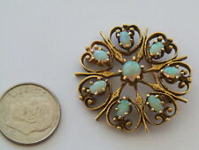 Vntg Antiqued 14K Gold 8 Opal Round Brooch