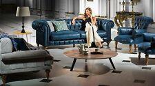 Chesterfield Design Luxus Polster Sofa Couch Sitz Garnitur Leder Textil Neu #154