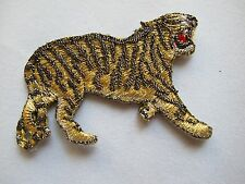 #3539 Gold,Black,Silver Animal Tiger Embroidery Iron On Applique Patch