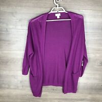 Old Navy Women's Size Medium Long Sleeve Cardigan Sweater Purple Open Front NEW