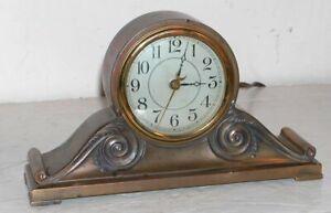 """Vintage Brass Art Nouveau Lux Mantle Clock Electric Tambour Form 11x6"""" Working"""