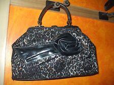 Gorgeous Jessica Simpson black brown white lace & flower handbag purse handbag