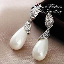 18K White Gold Plated Simulated Pearl & Diamond Stunning Angel Wing Earrings