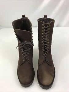 DKNY Women's 7.5 B Brown Suede Granny Lace up Boot with 2in Heel 9 in High Cone