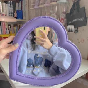 Heart Shaped Vanity Mirror Womens Pastel Kawaii Bathroom Cosmetic Table Mirror