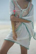 Designer Kaftan Blouse Poncho pom pom Miss June Embroidered Mint Blue