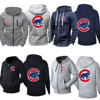 Men's Chicago Cubs Hoodie Sports Sweatshirt Baseball Hooded Coat Zip up Jacket