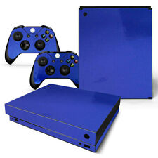 Xbox One X Skin Console & 2 Controllers Blue Glossy Finish Vinyl Wrap Decal