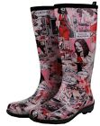 FUNKY COMIC KAMIK GUMBOOTS Wellies Ladies Gum Boots Rainboots Size 7 8 9 10 *New