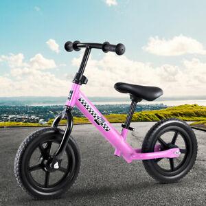 """Kids Balance Bike Ride On Toys Push Bicycle Wheels Toddler Baby 12"""" Bikes Pink"""