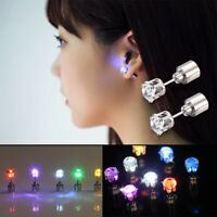 2 PC Light Up LED Bling Ear Studs Earrings Accessories for Dance/Xmas Party