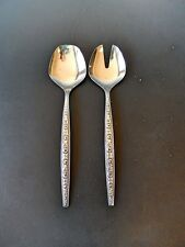 Stainless Japan Salad Set of 2 Spoon and Fork Embossed Mid Century Design