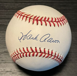 Hank Aaron Autographed Hand Signed Official National League Baseball Legend