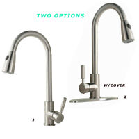 Stainless Steel Kitchen Sink Faucets Single Handle Pull Down Sparyer Deck Mount