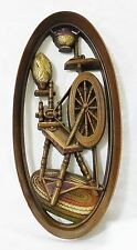 Vintage burwood oval wall plaque plastic spinning wheel sewing home decor