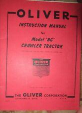 Oliver Bg crawler bulldozer instruction Vintage Tractor Manual book