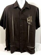 Cubavera Mens Shirt Sz L Embroidered Rockabilly Bowling Lounge POOL PALACE Brown
