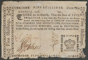 GEORGIA FIRST CONTINENTAL of 1776 ISSUED with CROWN SIGNED by 3 AMERICAN GREATS