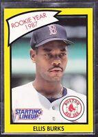 1990  ELLIS BURKS - Kenner Starting Lineup Card - Boston Red Sox - (Yellow)