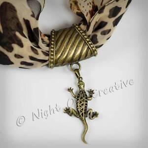 Scarf Ring, Scarf Clip Pendant, Large Bail Antique Bronze Lizard Gecko Jewellery