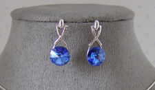 SWAROVSKI CRYSTAL ELEMENTS SAPPHIRE DANGLE EARRINGS PLATINUM FINISH
