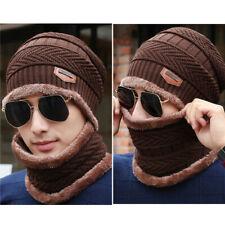 Men Women Winter Beanie Hat Scarf Set Warm Fleece Knitted Thick Knit Cap