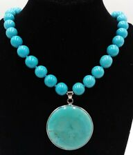 10mm Blue Turquoise Beads & Natural Wafer Turquoise Pendant Necklace 18''