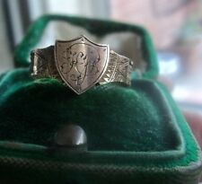 Victorian 9ct Gold Memorial Mourning Ring + Woven Hair h/m 1886 Chester - size O