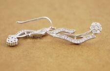 925 Sterling Silver CZ Flower Cuff Climber Crawler Wrap Earrings Women A1104