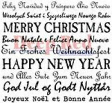Deep Red Rubber Cling Stamp International Holiday Wishes Words Quotes
