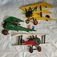 1975 - SEXTON Homco Airplanes Cast Metal Wall Art Decor Set of 3 Planes Vintage