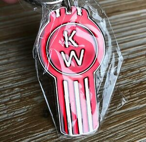 Authentic - Kenworth Semi Red Bug Pewter Epoxy Key Chain Tag Keychain