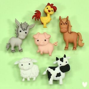 Dress it Up Buttons In The Barnyard 10418 - Horse Donkey Chicken Cow Pig Sheep