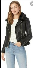 Guess Ladies Short Faux Leather Moto Jacket / Removable Faux Fur Collar, NWT, XL
