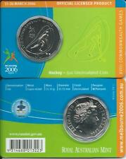 """2006 50 CENT MELBOURNE COMMONWEALTH GAMES IN CARD """"HOCKEY"""" COIN:UNC"""