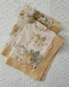 Faded Floral Gold Green Pair Standard Sham Cottage Farmhouse Shabby Chic Cotton