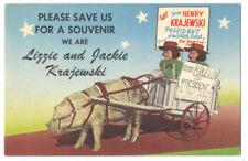 GREAT LINEN - PIG FARMER Henry Krajewski for PRESIDENT 1950's Secaucus NJ