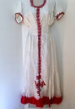 Traditional embroidered Ethiopian Eritrean dress 2 piece 100% cotton-Red classic