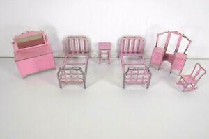 Vintage Tootsie Toy Toostietoy Metal Dollhouse Miniature Pink Bedroom 6 Piece