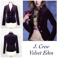 J. Crew Velvet Eden Blazer Career Business Woman Size 0 Purple Professional