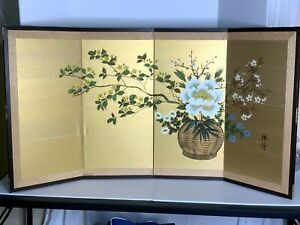 Japanese 4 Panel Folding Screen Tabletop or Wall mount Floral