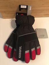 New $55 Rossignol Drypel Waterproof Insulated Black/Red Ski Gloves Men's Large